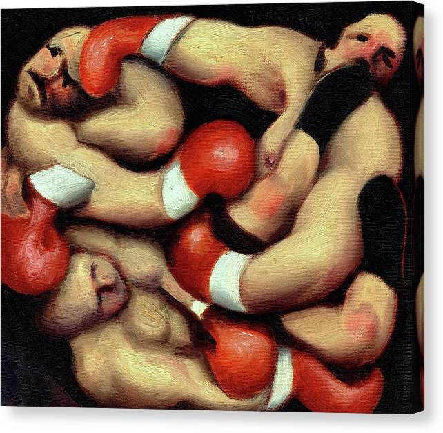 Boxing Canvas Print featuring the painting Tommervik Boxers Brawling Boxing Art Print by Tommervik