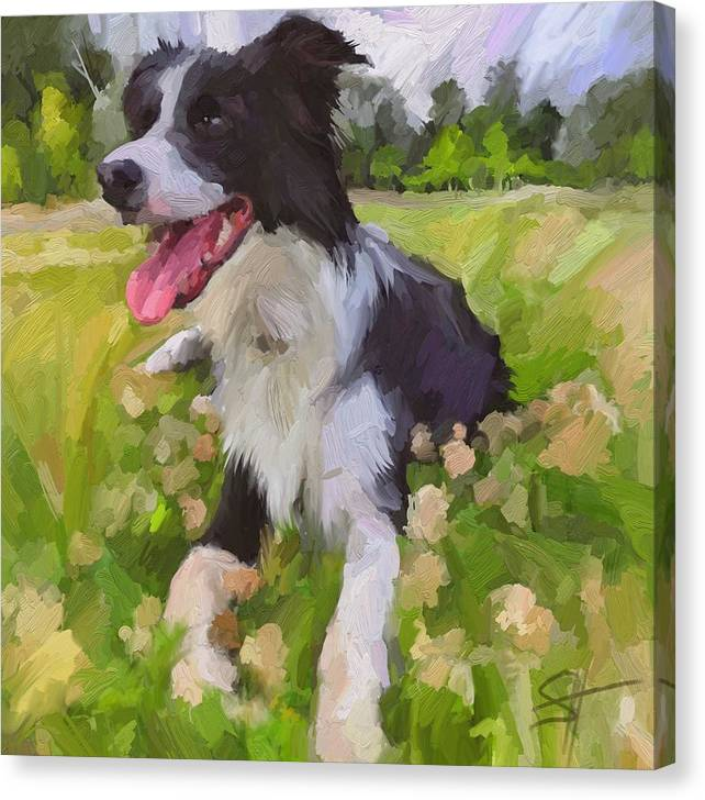 Border Collie Canvas Print featuring the digital art Collie Flowers by Scott Waters
