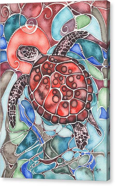 Sea Canvas Print featuring the painting Sea Turtle by Tamara Phillips