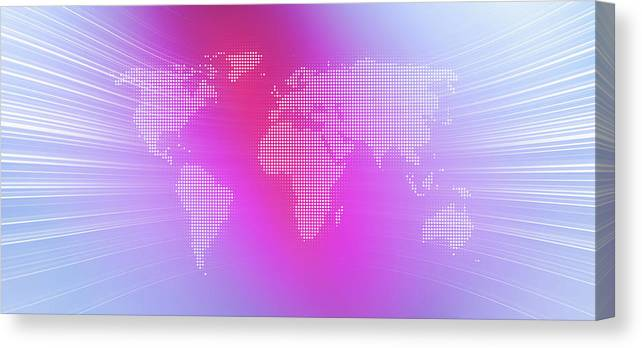 Curve Canvas Print featuring the digital art World Map In Dots Against An Abstract by Ralf Hiemisch