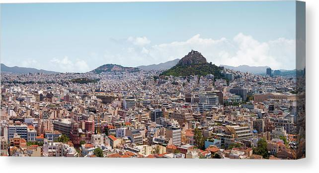 Greek Culture Canvas Print featuring the photograph Athens Panorama View From The Acropolis by Ed Freeman