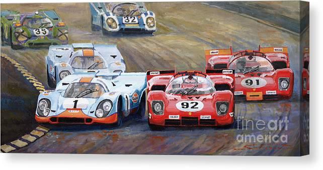 Acrilic On Canvas Canvas Print featuring the painting Ferrari vs Porsche 1970 Watkins Glen 6 Hours by Yuriy Shevchuk