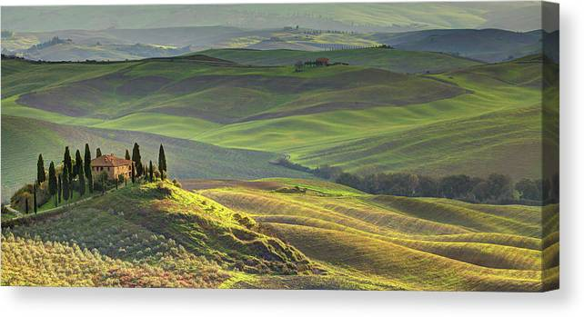 Scenics Canvas Print featuring the photograph First Light In Tuscany by Maurice Ford