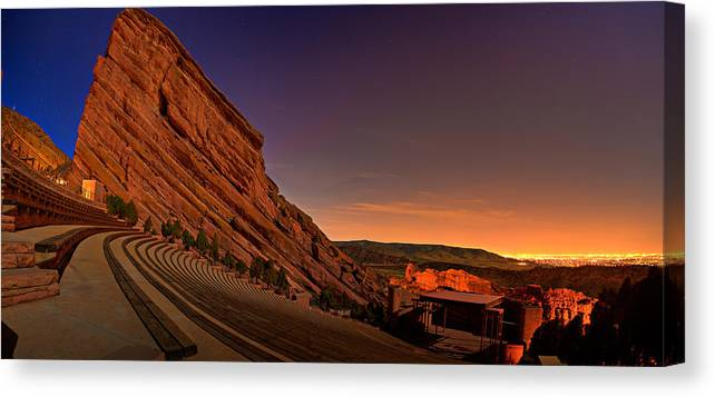 Night Canvas Print featuring the photograph Red Rocks Amphitheatre at Night by James O Thompson