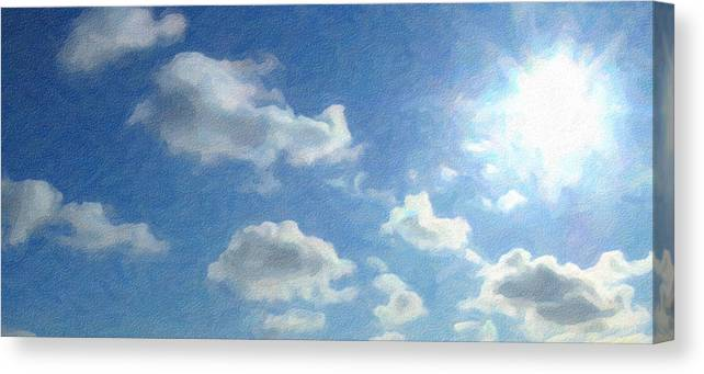 Landscape Canvas Print featuring the photograph Sunshiny Day - Digital Painting Effect by Rhonda Barrett