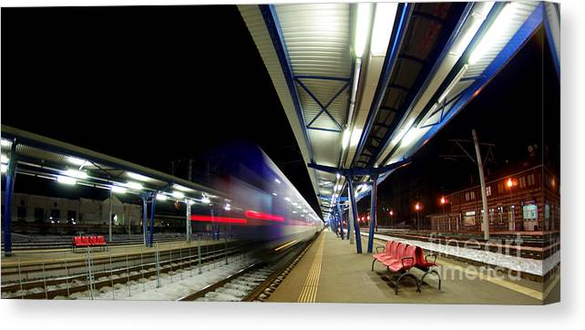 Train Canvas Print featuring the photograph The Ghost Train by Amalia Suruceanu