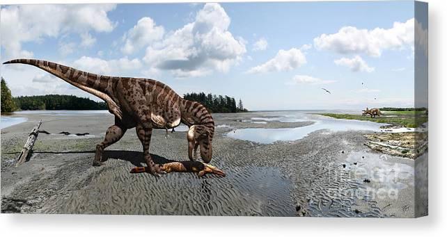 Dinosaur Canvas Print featuring the digital art Tyrannosaurus enjoying seafood - wide format by Julius Csotonyi