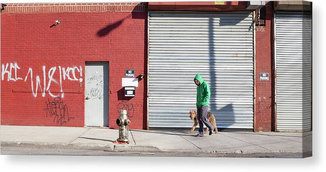 Pets Canvas Print featuring the photograph Young Man Walks Dog by Alex Potemkin