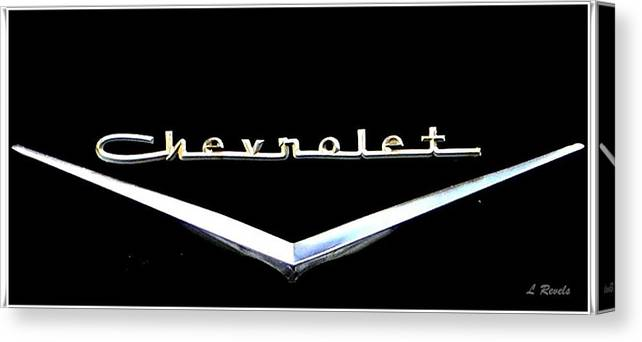 Chevrolet Canvas Print featuring the photograph Chevrolet Logo by Leslie Revels
