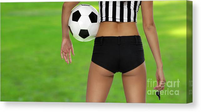 Soccer Canvas Print featuring the photograph Sexy Referee by Maxim Images Prints