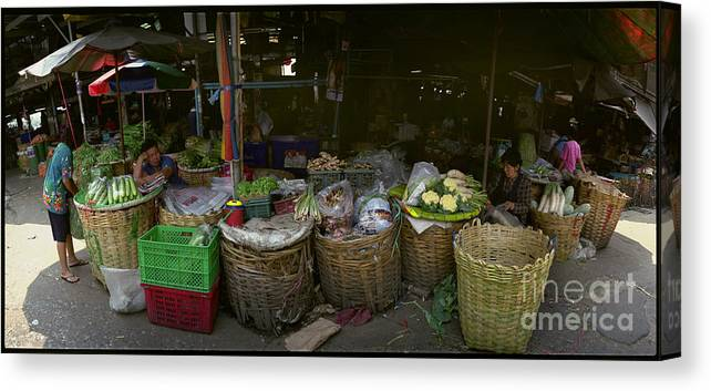 Bangkok Canvas Print featuring the photograph Afternoon Market In Bangkok by Ty Lee
