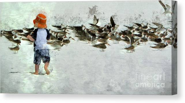 Terns Canvas Print featuring the photograph Bird Play by Claire Bull