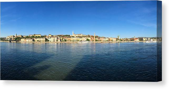 Budapest Canvas Print featuring the photograph Budapest and Danube Panorama by Matthias Hauser