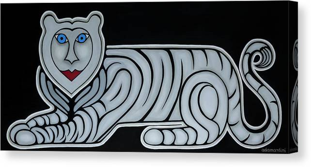 Celestial Canvas Print featuring the painting Celestial big white tiger woman by Adamantini Feng shui