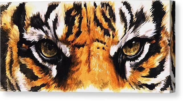 Feline Canvas Print featuring the mixed media Sumatran Tiger Glare by Barbara Keith