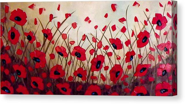 Original Art Abstract Acrylic Impasto Texture Contemporary Modern Floral Poppies Landscape Wallart Homedecor Red Brown Beige Turquoise White Fineart Canvas Print featuring the painting Field Of Poppies by Linda Powell