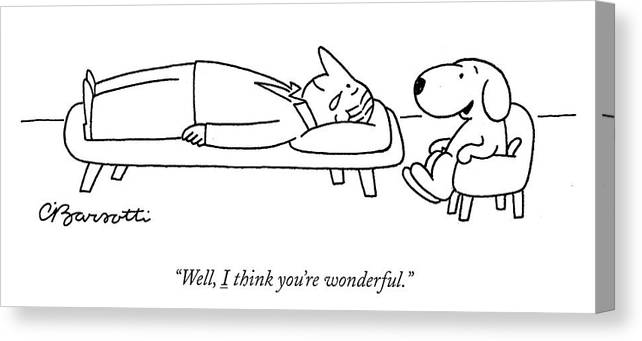 """well Canvas Print featuring the drawing I think you are wonderful by Charles Barsotti"