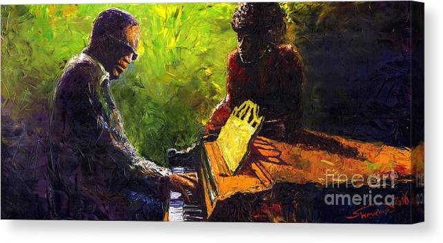 Jazz Canvas Print featuring the painting Jazz Ray Duet by Yuriy Shevchuk