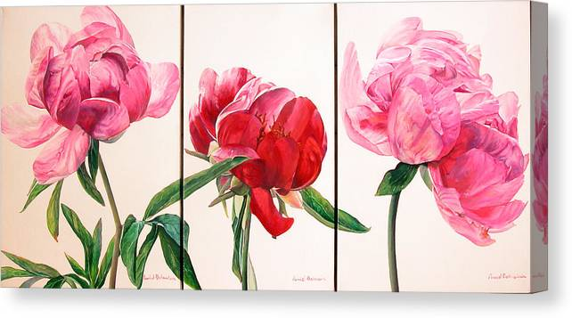 Floral Painting Canvas Print featuring the painting Pivoines by Muriel Dolemieux