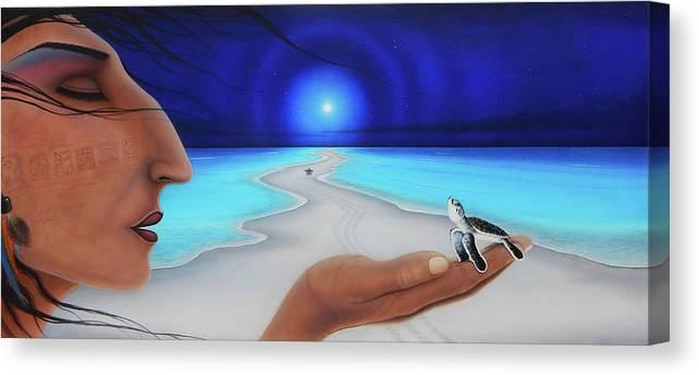 Moon Canvas Print featuring the painting Tiempo y espacio version lV by Angel Ortiz