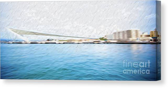 Eastern Caribbean Canvas Print featuring the digital art At the Pier in San Juan Puerto Rico by Kenneth Montgomery
