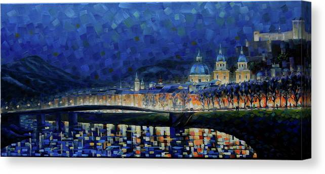 Salzburg Canvas Print featuring the painting Austrian Nights by Rob Buntin