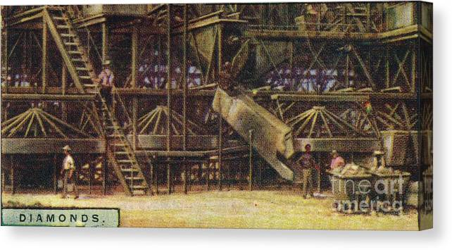 Panoramic Canvas Print featuring the drawing Diamonds Washing Plant by Print Collector