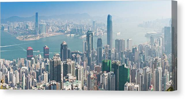 New Territories Canvas Print featuring the photograph Hong Kong Iconic Skyscraper City by Fotovoyager