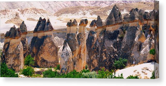 Landscape Canvas Print featuring the photograph Fairy Chimney Panorama by Apurva Madia