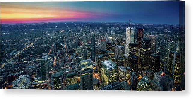 Downtown District Canvas Print featuring the photograph Toronto Downtown City At Night by D3sign