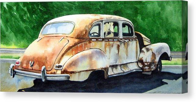 Hudson Car Rust Restore Canvas Print featuring the painting Hudson Waiting For a New Start by Ron Morrison