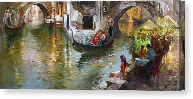 Venice Canvas Print featuring the painting Romance in Venice 2 by Ylli Haruni