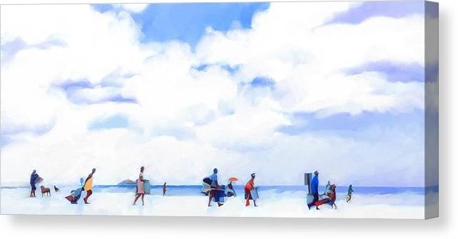 Landscape Beach Florida Canvas Print featuring the digital art The Beachgoers by Scott Waters
