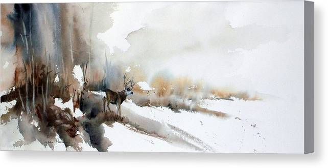 Mule Deer Canvas Print featuring the painting Venturing Out by Lynne Parker