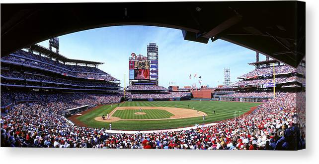 Citizens Bank Park Canvas Print featuring the photograph Montreal Expos V Philadelphia Phillies by Jerry Driendl