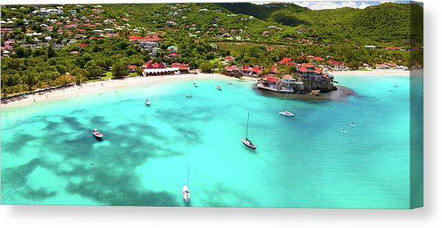 Water's Edge Canvas Print featuring the photograph Panoramic View Of St.jean Bay In by Cdwheatley