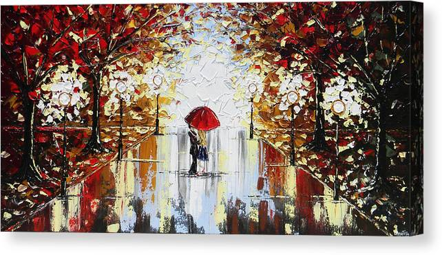 Art Canvas Print featuring the painting A Dance in the Rain by Christine Bell