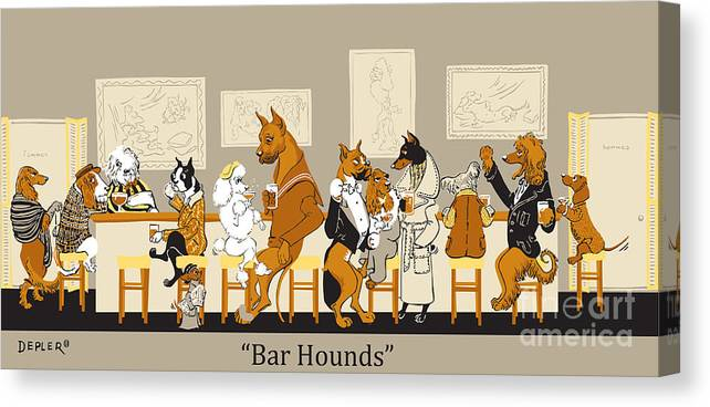 barhounds Canvas Print featuring the mixed media Bar Hounds by Constance Depler