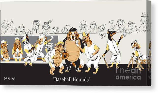 baseball Hounds Canvas Print featuring the mixed media Baseball Hounds by Constance Depler