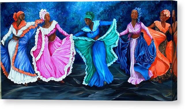 Caribbean Dance Canvas Print featuring the painting Caribbean Folk Dancers by Karin Dawn Kelshall- Best