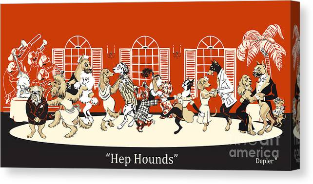 hep Hounds Canvas Print featuring the mixed media Hep Hounds by Constance Depler