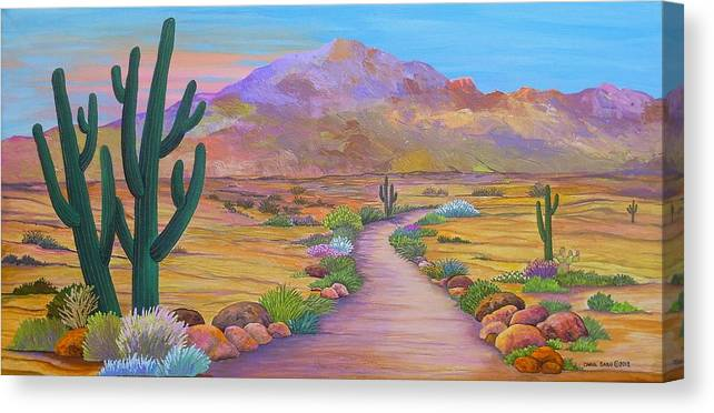 Southwest Canvas Print featuring the painting Path To McDowell Mtn. Phoenix Arizona by Carol Sabo