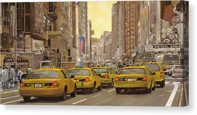 New York Canvas Print featuring the painting yellow taxi in NYC by Guido Borelli