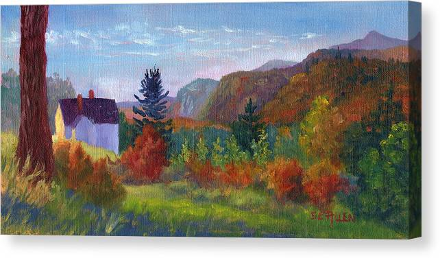Cathedral Ledge Canvas Print featuring the painting View From Thorn Hill Road by Sharon E Allen