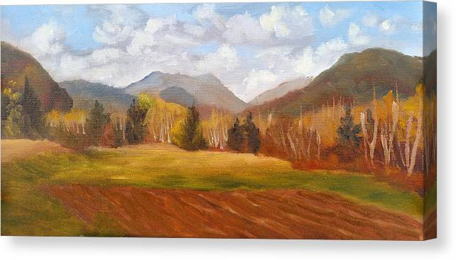 Mountains Canvas Print featuring the painting View of Pinkham Notch from Shartner's Field by Sharon E Allen