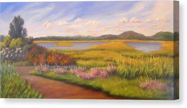 Marsh Canvas Print featuring the painting Early Fall Plum Island by Sharon E Allen
