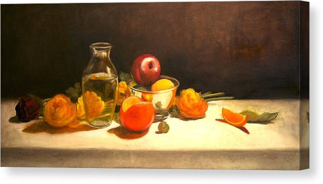 Orange Canvas Print featuring the painting Silver and Glass by Jayne Howard