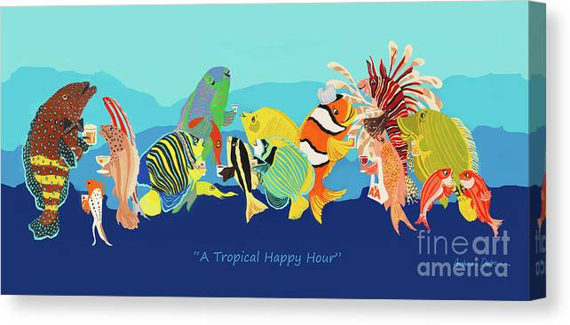 Tropical Fish Canvas Print featuring the painting A Tropical Happy Hour by Constance Depler