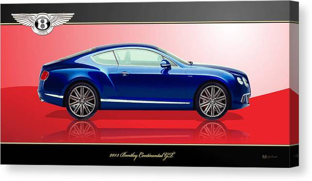 Wheels Of Fortune By Serge Averbukh Canvas Print featuring the photograph Bentley Continental GT with 3D Badge by Serge Averbukh