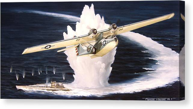 Military Canvas Print featuring the painting Caught on the Surface by Marc Stewart
